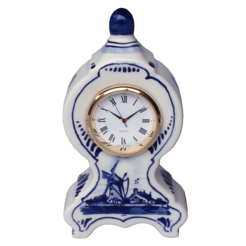 Miniature Mantel Clock Windmill 11cm - Delft Blue