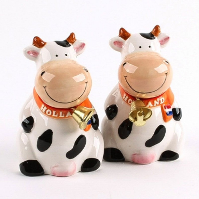 Sitting Salt and Pepper Cow with Bell