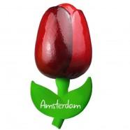 Tulip Magnets Red Aubergine - Wooden Tulip Magnet 9cm