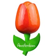 Tulip Magnets Orange Red - Wooden Tulip Magnet 9cm