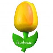 Tulip Magnets Yellow Orange - Wooden Tulip Magnet 9cm
