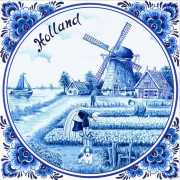 Napkins and Napkin Holders Tulipfields Windmill Napkins - Delft Blue