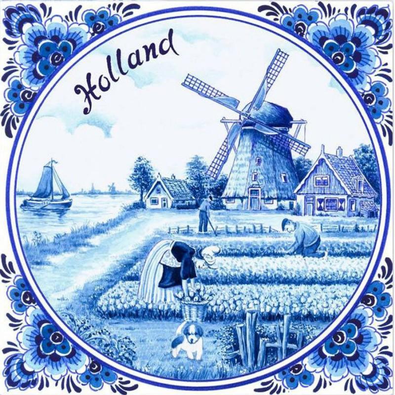 Servetten en Servethouders Tulpenveld Windmolen Servetten - Delfts Blauw