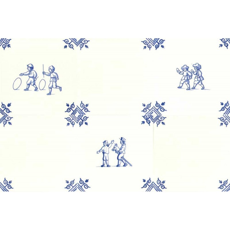 Old Dutch Children's Games Childs Play - Set of 6 tiles 12,5cm