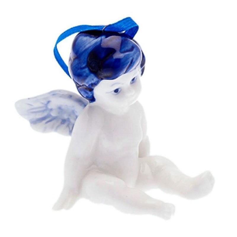 Kerstfiguren hangend Engel Zittend B - Kersthanger Delfts Blauw