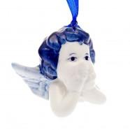 Kerstfiguren hangend Engel Hoofdje C - Kersthanger Delfts Blauw