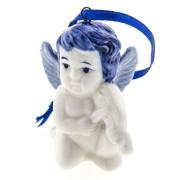 Kerstfiguren hangend Engel Viool - Kersthanger Delfts Blauw