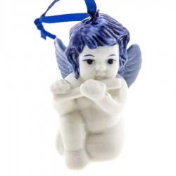 Kerstfiguren hangend Engel Dwarsfluit - Kersthanger Delfts Blauw