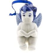 Kerstfiguren hangend Engel Boek - Kersthanger Delfts Blauw