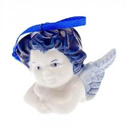 Kerstfiguren hangend Engel Hoofdje A - Kersthanger Delfts Blauw