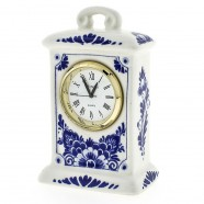 Miniature Clock Flowers 9cm - Delft Blue