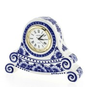 Clocks Miniature Clock Flowers 8cm - Delft Blue