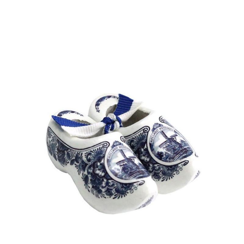 Decoratie Delfts Blauw Molen - 8 cm Klompenpaar