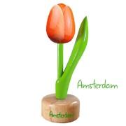 Tulp op voet Oranje Wit - Houten Tulip op voet 11.5cm