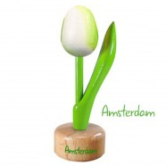 Tulip Pedestal White Green - Wooden Tulip on Pedestal 11.5cm