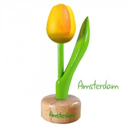 Yellow Orange - Wooden Tulip on Pedestal 11.5cm