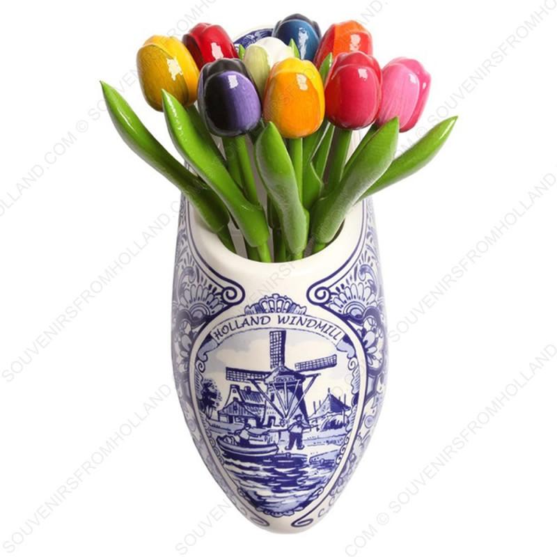Delfts Blauwe Klomp met bos Houten Tulpen