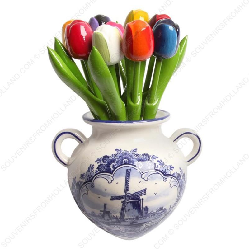 Delfts Blauwe Hangpot met bos Houten Tulpen