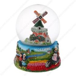 Holland Windmill Bicycle - Snow Globe 9cm