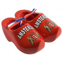 Red - Amsterdam - 14 cm Wooden Shoes
