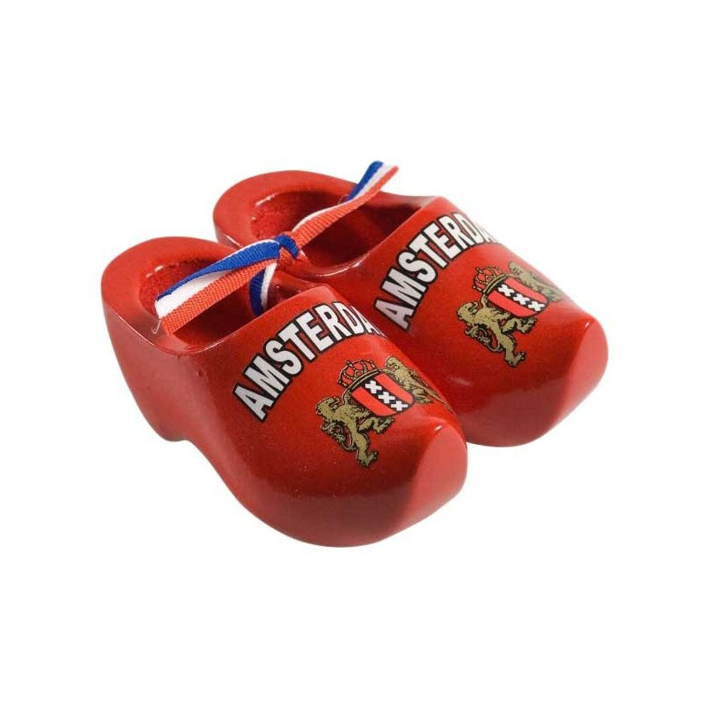 Decoration Red - Amsterdam - 14 cm Wooden Shoes