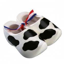 Decoration Cow - Black spots - 14 cm Wooden Shoes