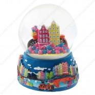 Amsterdam Fiets Grachtenhuizen - Sneeuwbol 9cm