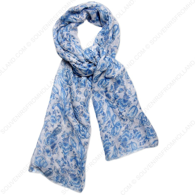 9d7f4f73e A fine woven lady's scarf made of very soft fabric. This scarf has a  traditional Delft Blue print with frayed edges for a vintage finish.