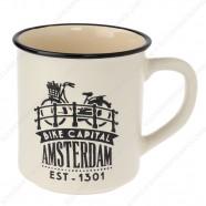 Cream Camp Mug Amsterdam Bike 10cm