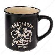 Zwarte Camp Mug Amsterdam Fiets 10cm