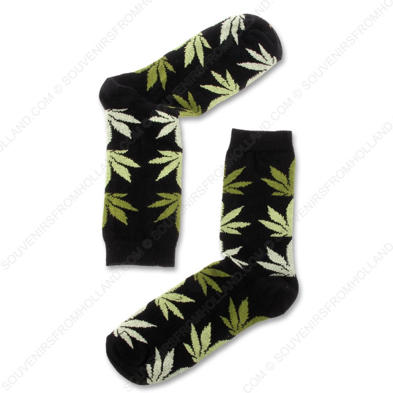 Socks Black Cannabis - Size 40-46