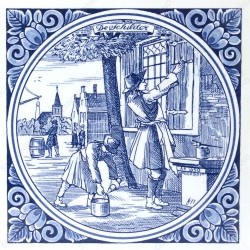 The Painter - Jan Luyken professions tile - Delft Blue
