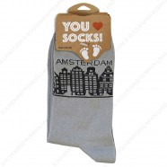 Socks Grey Canal Houses Amsterdam - Size 40-46
