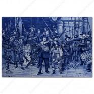 Night Watch Rembrandt - Delft Blue Tile Panel - set of 6 tiles
