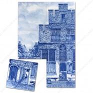 Het straatje van Vermeer - Delfts Blauw Tegeltableau - set van 6 tegels