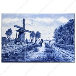 Landscape Windmill 1 - Delft Blue Tile Panel - set of 6 tiles