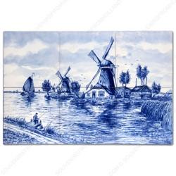 Molenlandschap 2 - Delfts Blauw Tegeltableau - set van 6 tegels