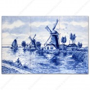 Landscape Windmill 2 - Delft Blue Tile Panel - set of 6 tiles