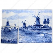 Landscape Windmill 3 - Delft Blue Tile Panel - set of 6 tiles