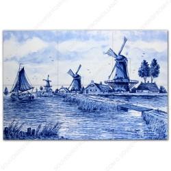 Molenlandschap 3 - Delfts Blauw Tegeltableau - set van 6 tegels