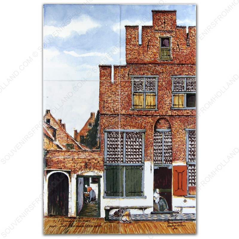 The Little Street by Vermeer - Polychrome - set of 6 tiles