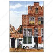 The Little Street by Vermeer - Polychrome Tile Panel - set of 6 tiles