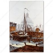Sailship Singel Amsterdam Lutheran Church - Polychrome Tile Panel