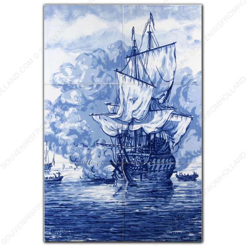 The Cannon Shot - Willem van de Velde - Delft Blue Tile Panel