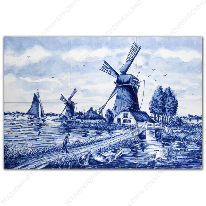 Landscape Windmill 50 - Delft Blue Tile Panel - set of 6 tiles