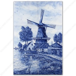 Landscape Windmill 46 - Delft Blue Tile Panel - set of 6 tiles