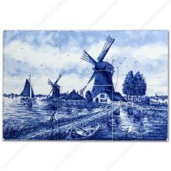 Landscape Windmill 50 small - Delft Blue Tile Panel - set of 6 tiles