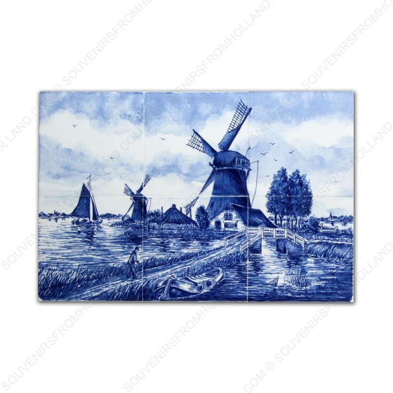 Molenlandschap 50 klein - Delfts Blauw Tegeltableau - set van 6 tegels