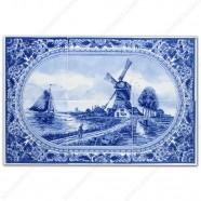 Molenlandschap 50 klein rand - Delfts Blauw Tegeltableau - set van 6 tegels
