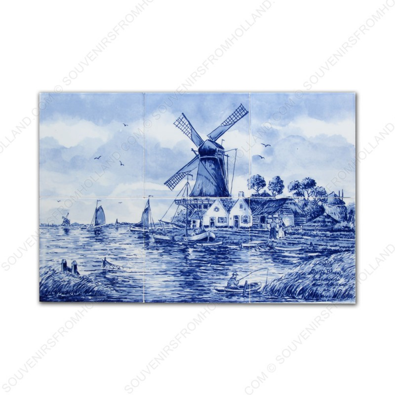 Landscape Windmill Fisherman small - Delft Blue Tile Panel - set of 6 tiles